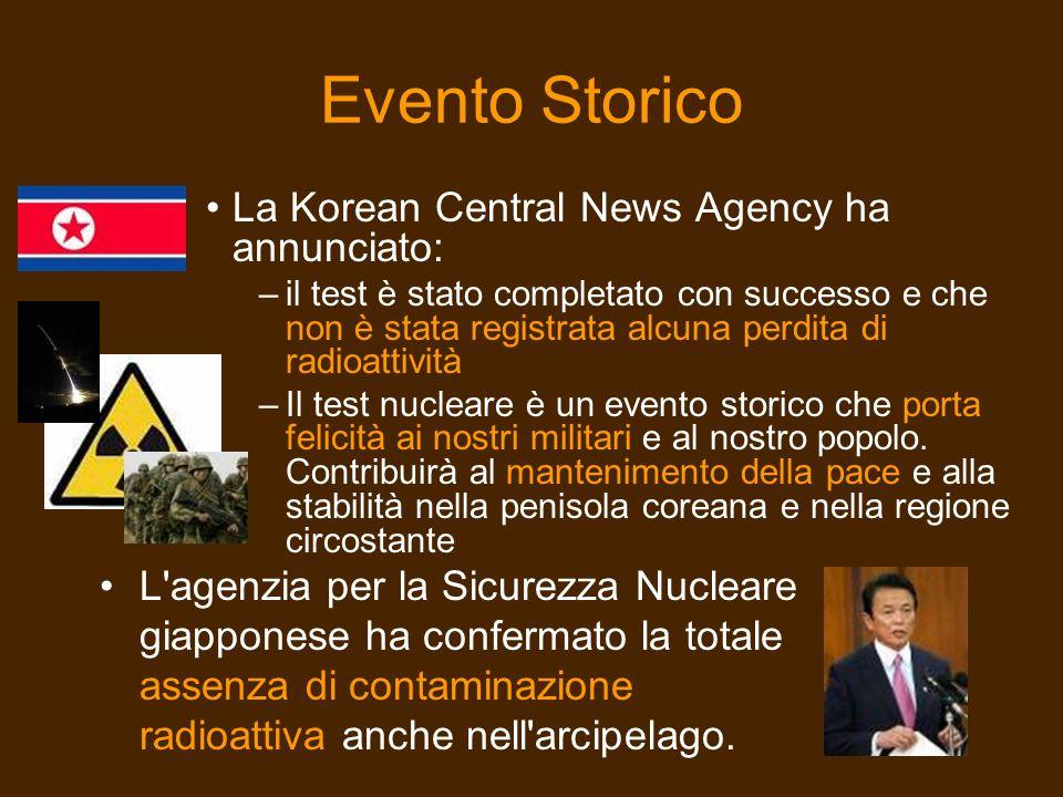 Evento Storico La Korean Central News Agency ha annunciato: –il test è stato completato con successo e che non è stata registrata alcuna perdita di ra