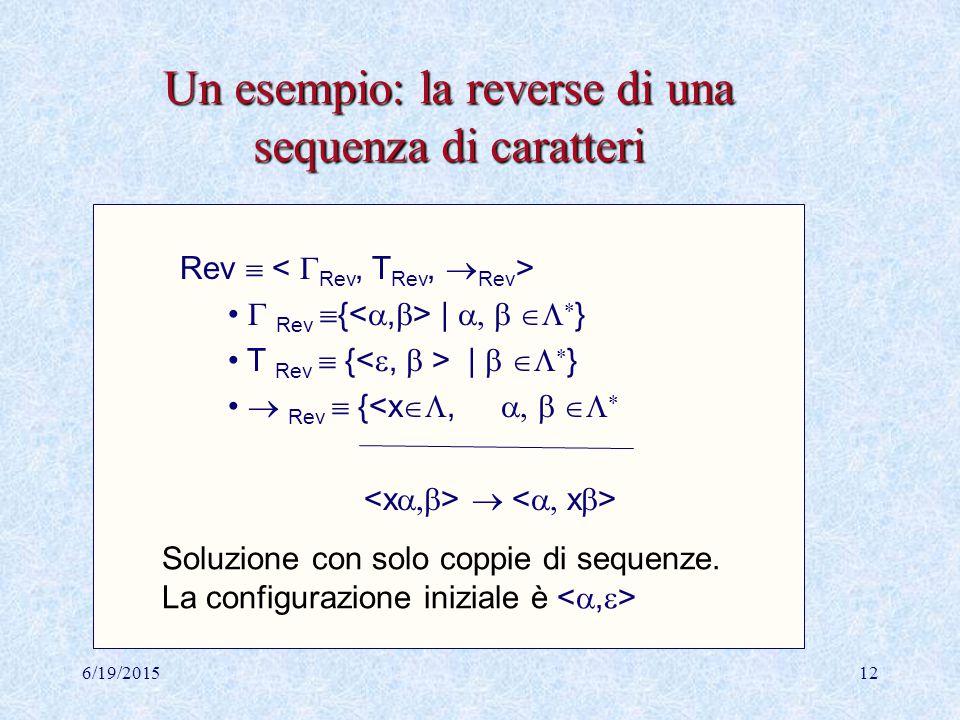 6/19/201511 Un esempio Data la grammatica G= definiamo un sistema di transizione nel modo seguente:  ={  |  ({a,b}  {S})*} T ={  |   {a,b}*}