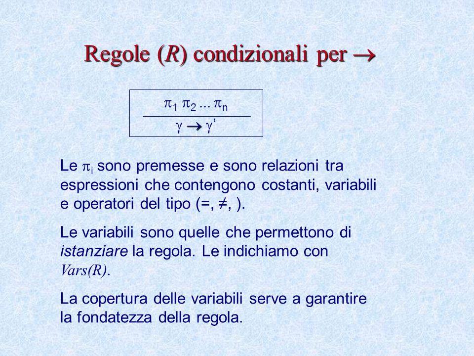Regole (R) condizionali per   1  2     n    ' Le  i sono premesse e sono relazioni tra espressioni che contengono costanti, variabili e operatori del tipo (=, ≠, ).