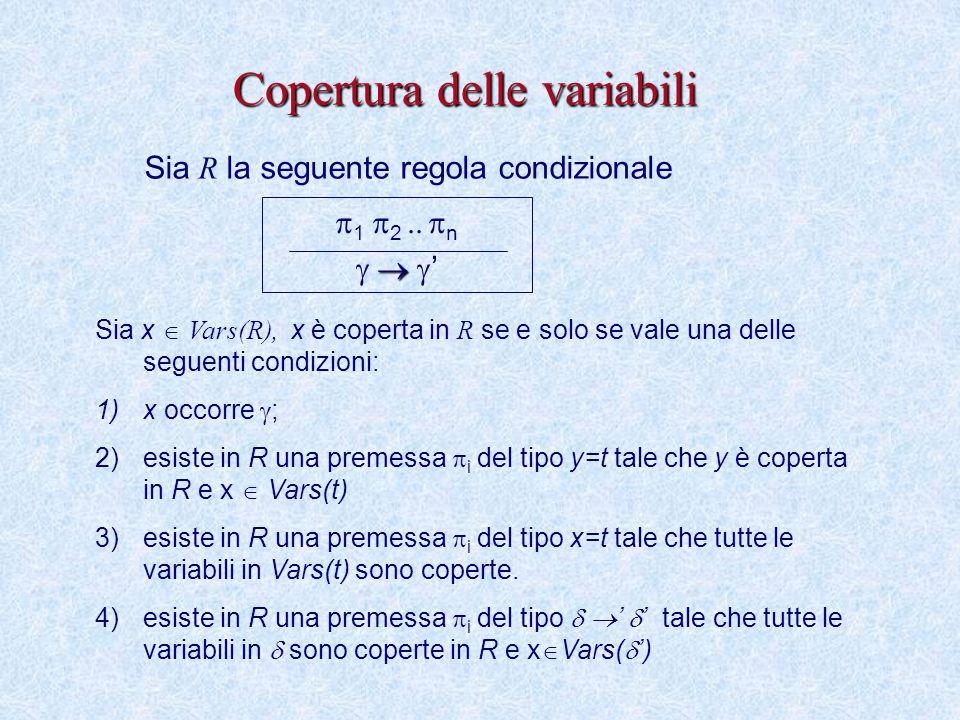 Copertura delle variabili  1  2     n    ' Sia x  Vars(R), x è coperta in R se e solo se vale una delle seguenti condizioni: 1)x occorre  ; 2)esiste in R una premessa  i del tipo y=t tale che y è coperta in R e x  Vars(t) 3)esiste in R una premessa  i del tipo x=t tale che tutte le variabili in Vars(t) sono coperte.