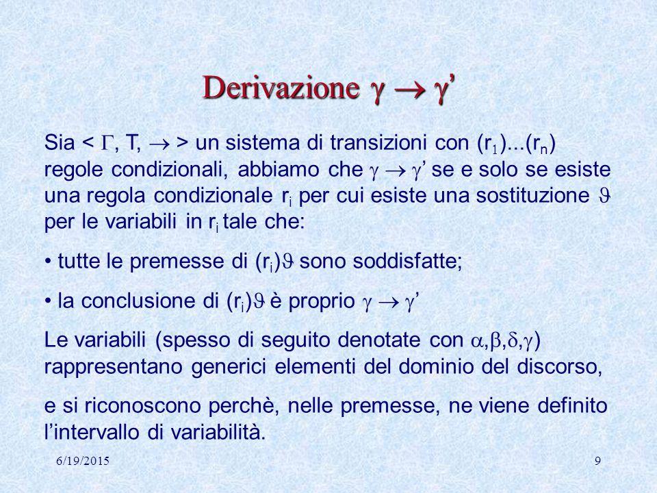 6/19/20158 Sostituzioni e istanziazioni Sia V= {x 1,...x k } è un insieme di variabili, si dice sostituzione l'insieme di associazioni ={c 1 /x 1,...