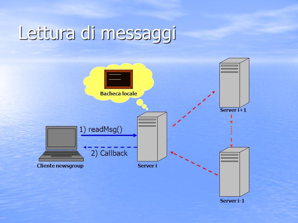 Lettura di messaggi Bacheca locale 1) readMsg() 2) Callback Cliente newsgroupServer i Server i+1 Server i-1