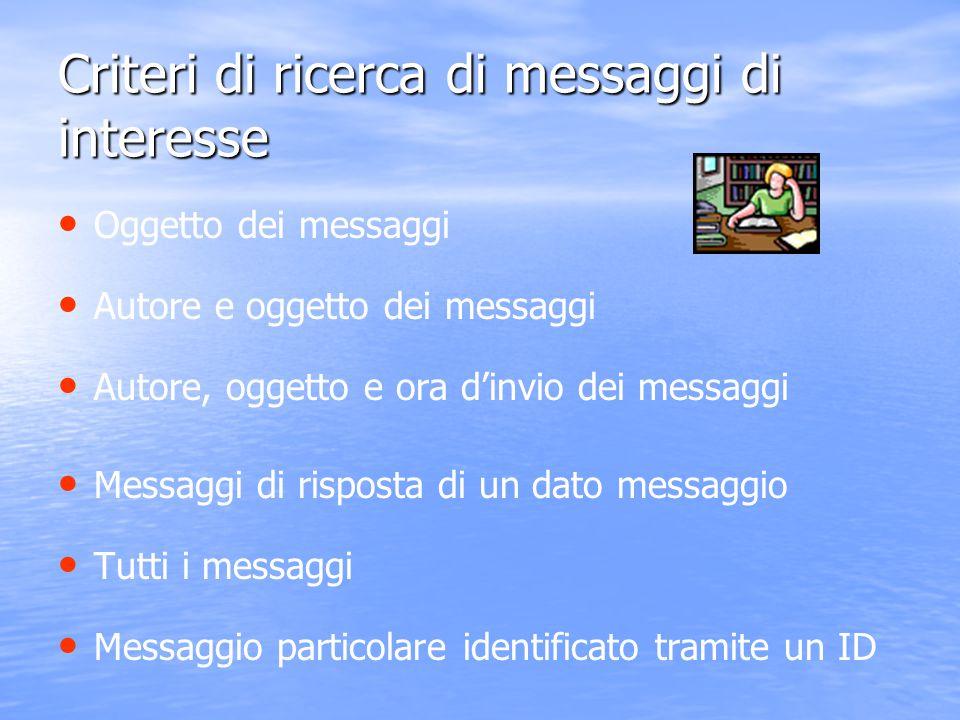 Criteri di ricerca di messaggi di interesse Oggetto dei messaggi Autore e oggetto dei messaggi Autore, oggetto e ora d'invio dei messaggi Messaggi di
