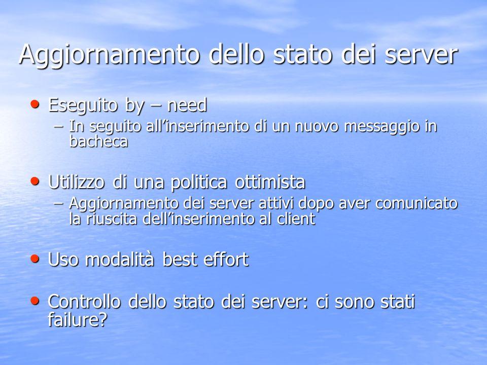 Aggiornamento dello stato dei server Eseguito by – need Eseguito by – need –In seguito all'inserimento di un nuovo messaggio in bacheca Utilizzo di un