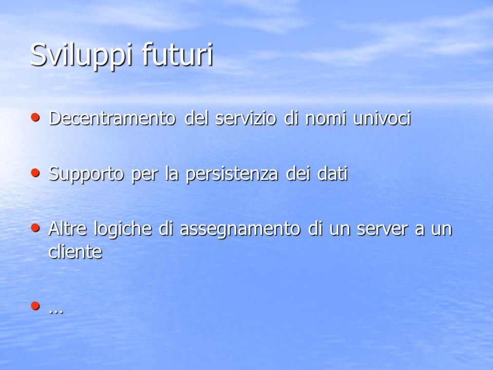 Sviluppi futuri Decentramento del servizio di nomi univoci Decentramento del servizio di nomi univoci Supporto per la persistenza dei dati Supporto pe
