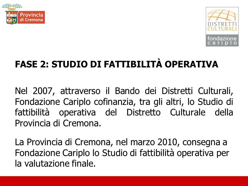 FASE 2: STUDIO DI FATTIBILITÀ OPERATIVA Nel 2007, attraverso il Bando dei Distretti Culturali, Fondazione Cariplo cofinanzia, tra gli altri, lo Studio di fattibilità operativa del Distretto Culturale della Provincia di Cremona.