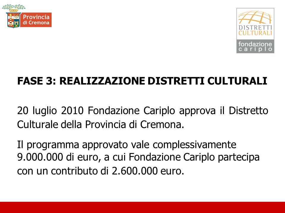FASE 3: REALIZZAZIONE DISTRETTI CULTURALI 20 luglio 2010 Fondazione Cariplo approva il Distretto Culturale della Provincia di Cremona.