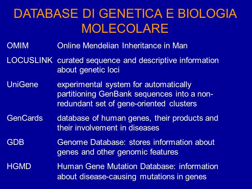 DATABASE DI GENETICA E BIOLOGIA MOLECOLARE OMIM http://www3.ncbi.nlm.nih.gov/Omim/ LOCUSLINK http://www.ncbi.nlm.nih.gov/LocusLink/ UniGene http://www.ncbi.nlm.nih.gov/entrez/query.fcgi?db=unigene GenCards http://bioinfo.weizmann.ac.il/cards/ GDB http://gdbwww.gdb.org/ HGMD http://archive.uwcm.ac.uk/uwcm/mg/hgmd0.html