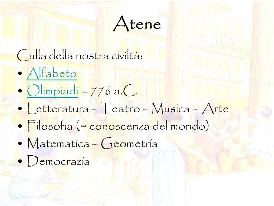Atene Culla della nostra civiltà: Alfabeto Olimpiadi - 776 a.C.Olimpiadi Letteratura – Teatro – Musica – Arte Filosofia (= conoscenza del mondo) Matem