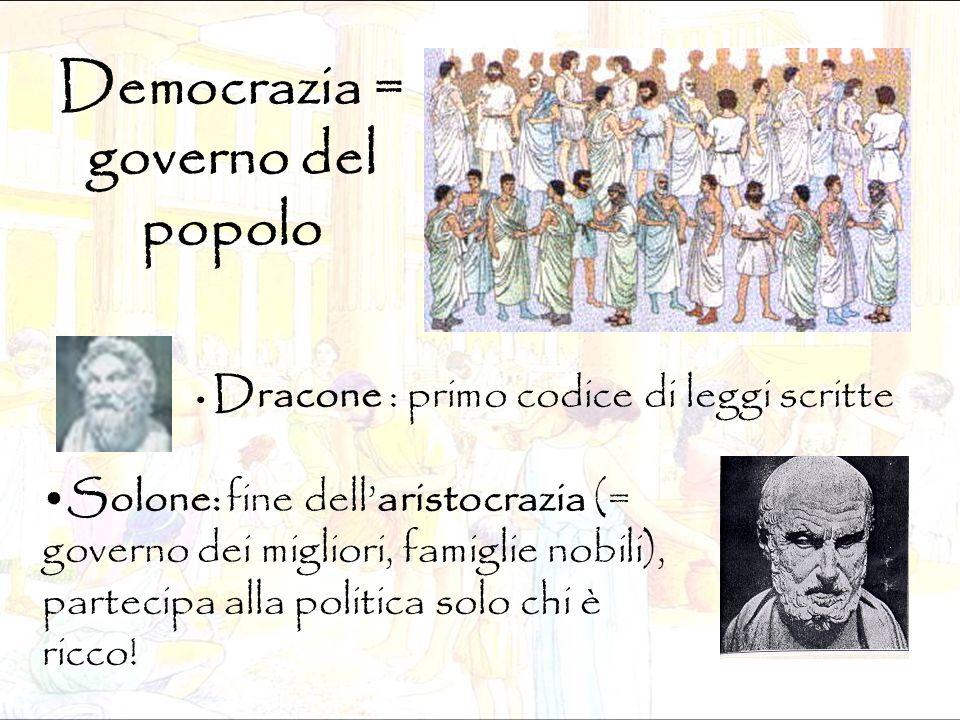 Democrazia = governo del popolo Dracone : primo codice di leggi scritte Solone: fine dell'aristocrazia (= governo dei migliori, famiglie nobili), part