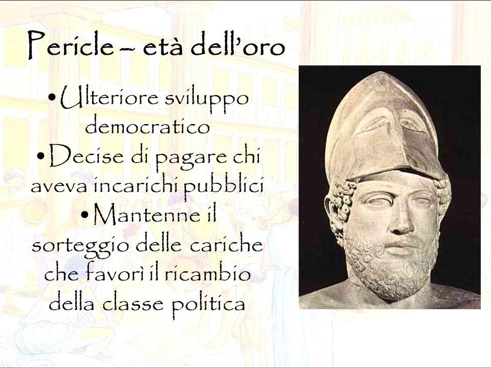 Pericle – età dell'oro Ulteriore sviluppo democratico Decise di pagare chi aveva incarichi pubblici Mantenne il sorteggio delle cariche che favorì il