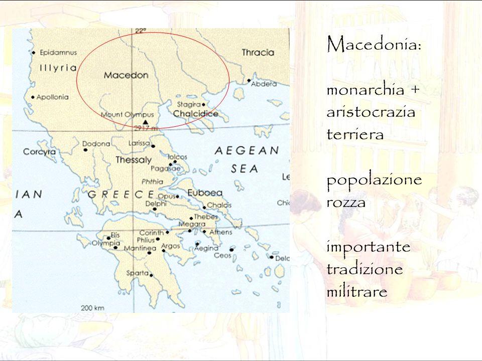 Macedonia: monarchia + aristocrazia terriera popolazione rozza importante tradizione militrare