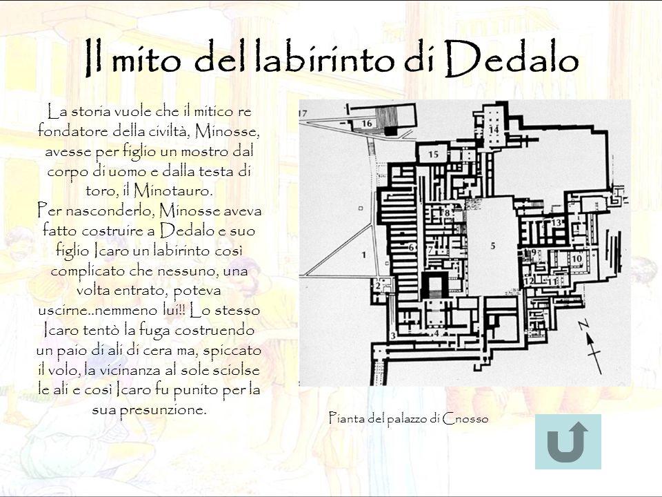 Il mito del labirinto di Dedalo Pianta del palazzo di Cnosso La storia vuole che il mitico re fondatore della civiltà, Minosse, avesse per figlio un m