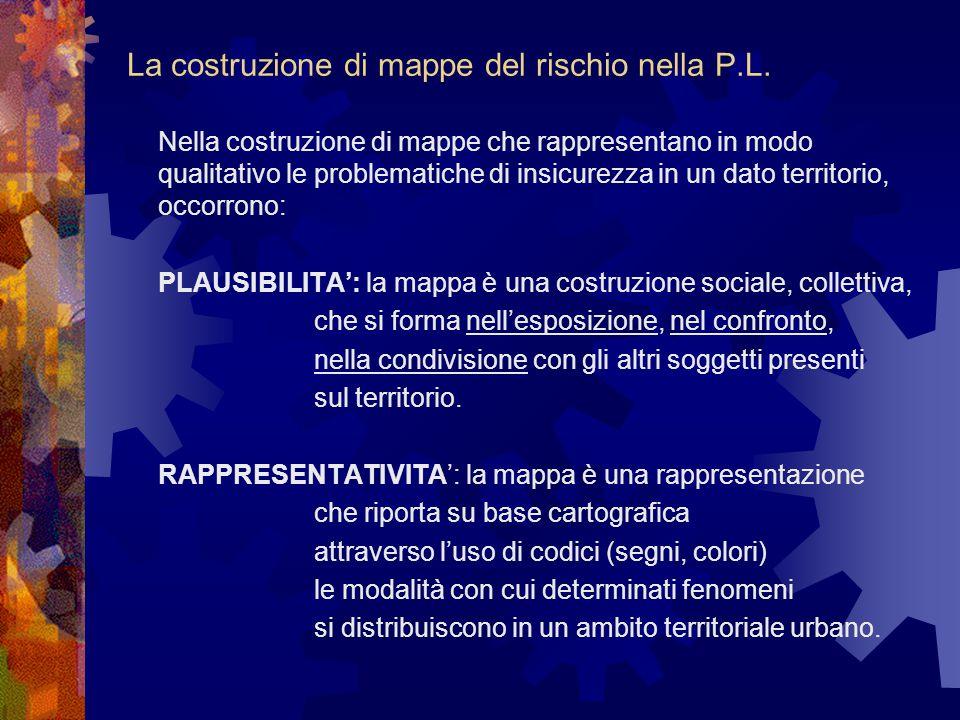 La costruzione di mappe del rischio nella P.L. Nella costruzione di mappe che rappresentano in modo qualitativo leproblematiche di insicurezza in un d