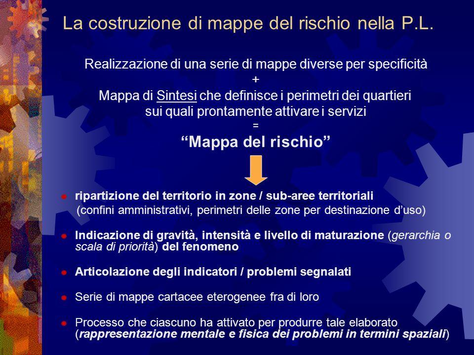 La costruzione di mappe del rischio nella P.L. Realizzazione di una serie di mappe diverse per specificità + Mappa di Sintesi che definisce i perimetr