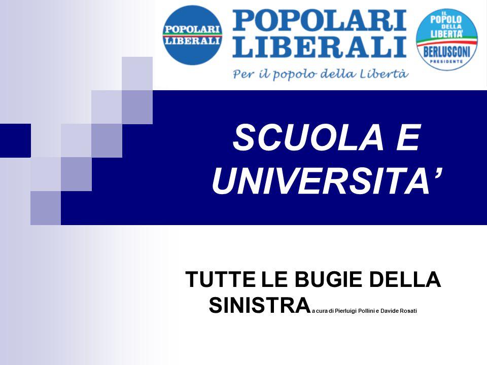 SCUOLA E UNIVERSITA' TUTTE LE BUGIE DELLA SINISTRA a cura di Pierluigi Pollini e Davide Rosati