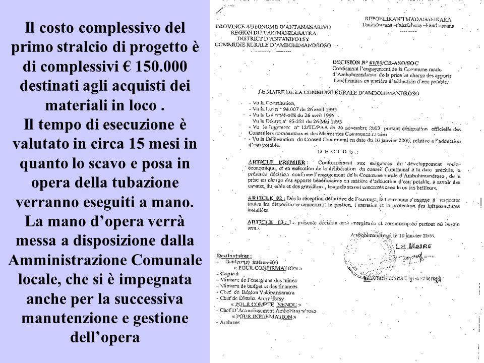 Il costo complessivo del primo stralcio di progetto è di complessivi € 150.000 destinati agli acquisti dei materiali in loco. Il tempo di esecuzione è