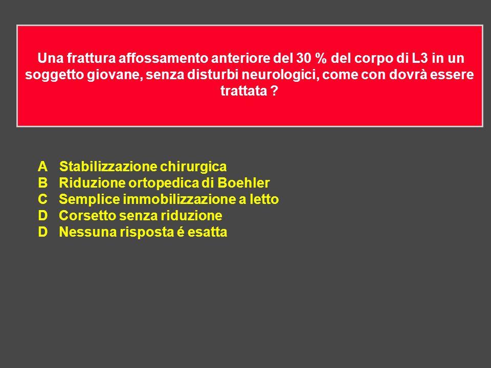 Una frattura affossamento anteriore del 30 % del corpo di L3 in un soggetto giovane, senza disturbi neurologici, come con dovrà essere trattata .