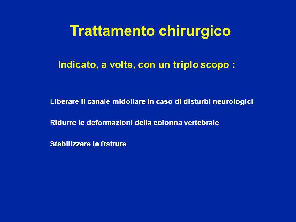 1° opzione : Tempo posteriore Riduzione della deformazione Liberazione del canale rachideo con LAMINECTOMIA Stabilizzazione OSTEOSINTESI ± TRAPIANTO OSSEO Trattamento chirurgico