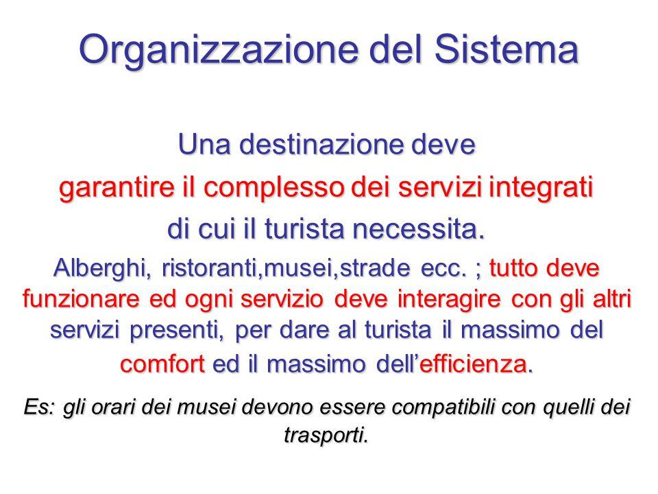 Organizzazione del Sistema Una destinazione deve garantire il complesso dei servizi integrati di cui il turista necessita.