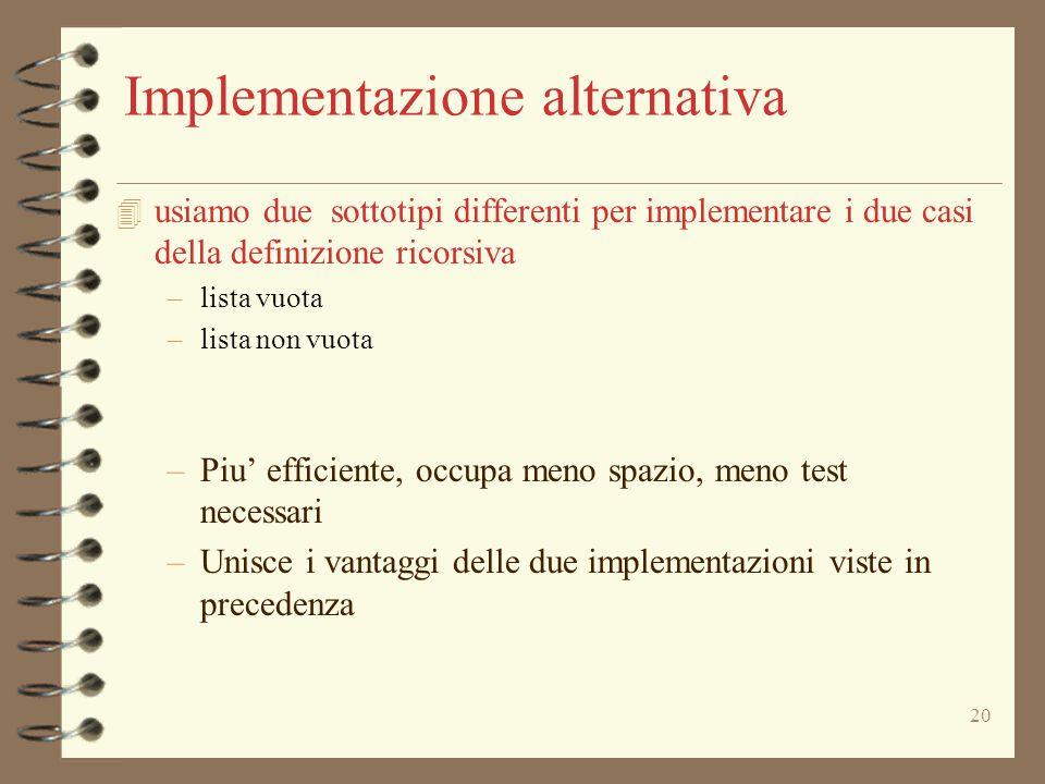 20 Implementazione alternativa 4 usiamo due sottotipi differenti per implementare i due casi della definizione ricorsiva –lista vuota –lista non vuota –Piu' efficiente, occupa meno spazio, meno test necessari –Unisce i vantaggi delle due implementazioni viste in precedenza