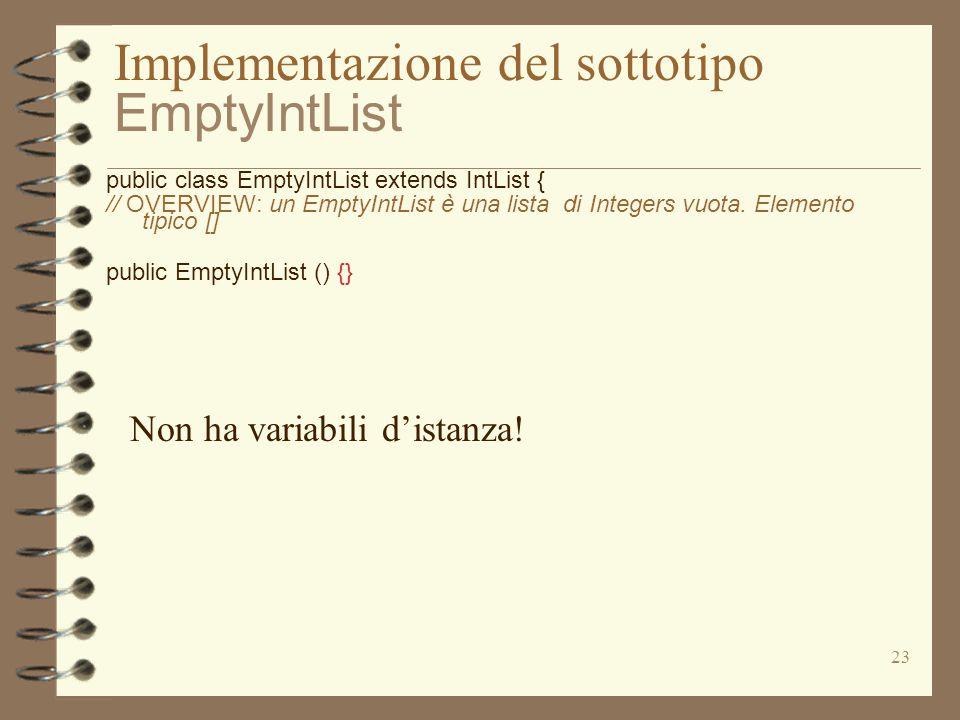 23 Implementazione del sottotipo EmptyIntList public class EmptyIntList extends IntList { // OVERVIEW: un EmptyIntList è una lista di Integers vuota.
