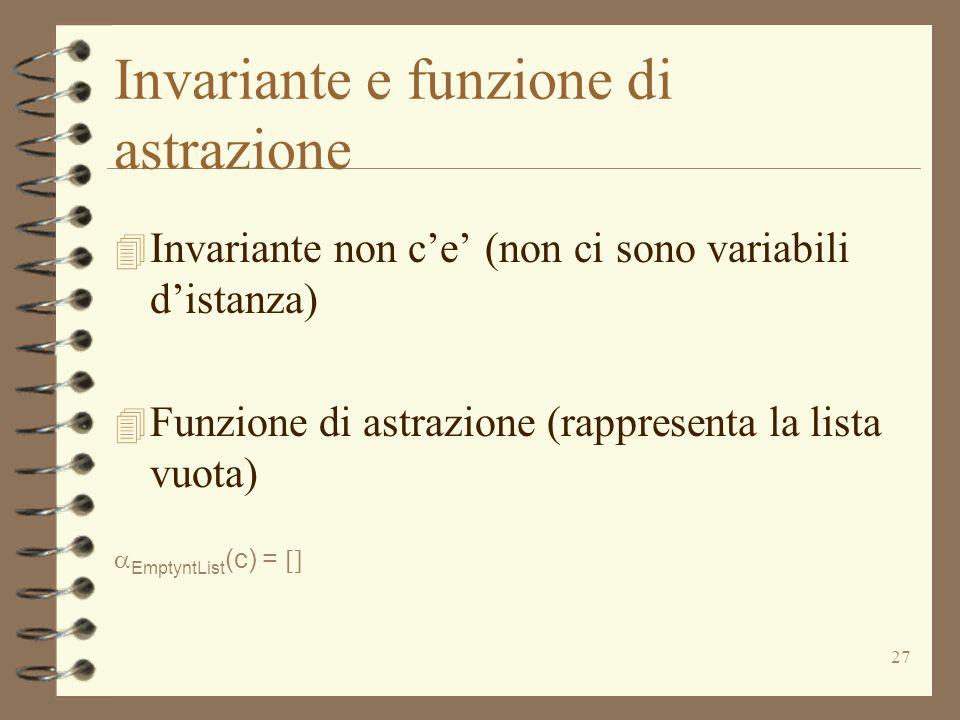 27 Invariante e funzione di astrazione 4 Invariante non c'e' (non ci sono variabili d'istanza) 4 Funzione di astrazione (rappresenta la lista vuota)  EmptyntList (c) = 