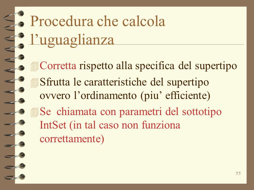 55 Procedura che calcola l'uguaglianza 4 Corretta rispetto alla specifica del supertipo 4 Sfrutta le caratteristiche del supertipo ovvero l'ordinamento (piu' efficiente) 4 Se chiamata con parametri del sottotipo IntSet (in tal caso non funziona correttamente)
