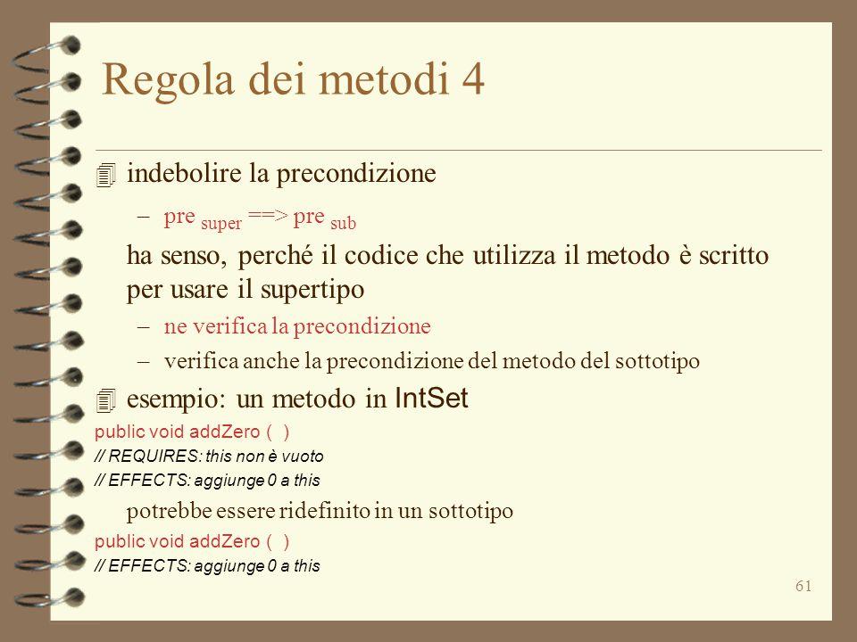 61 Regola dei metodi 4 4 indebolire la precondizione –pre super ==> pre sub ha senso, perché il codice che utilizza il metodo è scritto per usare il supertipo –ne verifica la precondizione –verifica anche la precondizione del metodo del sottotipo 4 esempio: un metodo in IntSet public void addZero ( ) // REQUIRES: this non è vuoto // EFFECTS: aggiunge 0 a this potrebbe essere ridefinito in un sottotipo public void addZero ( ) // EFFECTS: aggiunge 0 a this