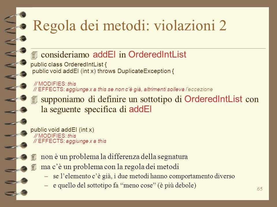 65 Regola dei metodi: violazioni 2 4 consideriamo addEl in OrderedIntList public class OrderedIntList { public void addEl (int x) throws DuplicateException { // MODIFIES: this // EFFECTS: aggiunge x a this se non c'è già, altrimenti solleva l'eccezione 4 supponiamo di definire un sottotipo di OrderedIntList con la seguente specifica di addEl public void addEl (int x) // MODIFIES: this // EFFECTS: aggiunge x a this 4 non è un problema la differenza della segnatura 4 ma c'è un problema con la regola dei metodi –se l'elemento c'è già, i due metodi hanno comportamento diverso –e quello del sottotipo fa meno cose (è più debole)