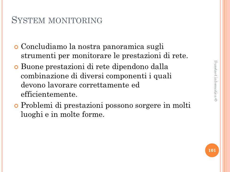 S YSTEM MONITORING Concludiamo la nostra panoramica sugli strumenti per monitorare le prestazioni di rete.