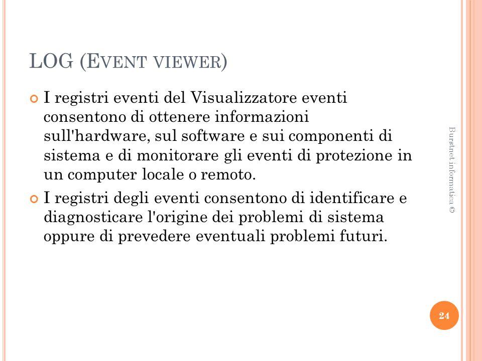 LOG (E VENT VIEWER ) I registri eventi del Visualizzatore eventi consentono di ottenere informazioni sull hardware, sul software e sui componenti di sistema e di monitorare gli eventi di protezione in un computer locale o remoto.
