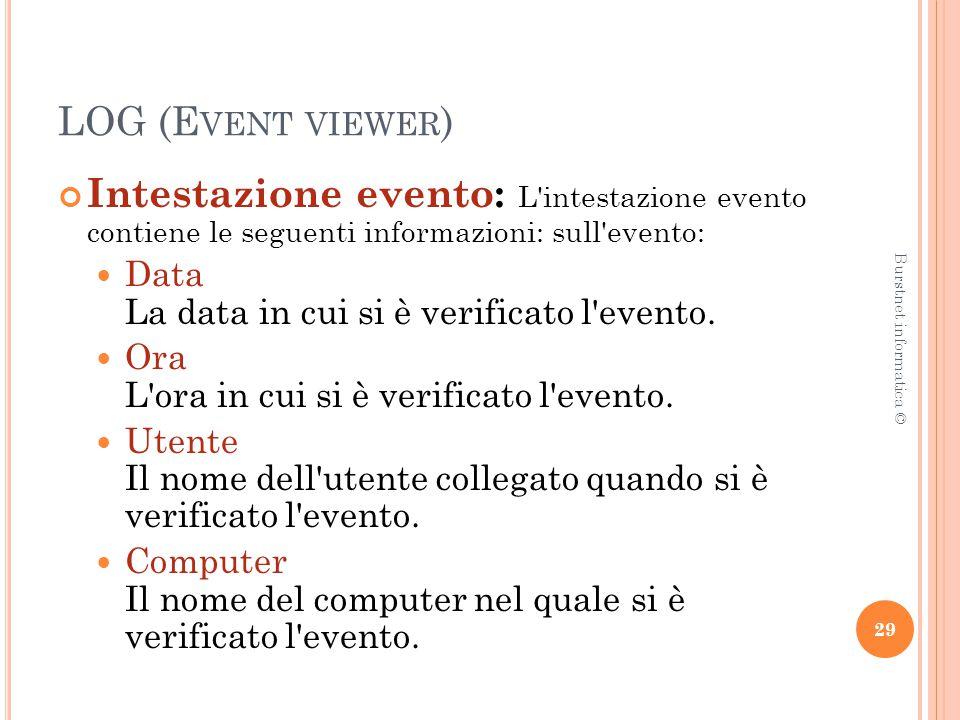 LOG (E VENT VIEWER ) Intestazione evento: L intestazione evento contiene le seguenti informazioni: sull evento: Data La data in cui si è verificato l evento.