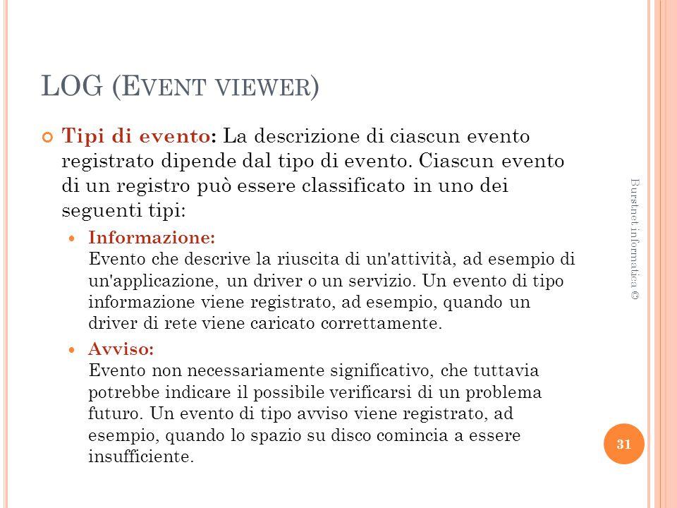 LOG (E VENT VIEWER ) Tipi di evento: La descrizione di ciascun evento registrato dipende dal tipo di evento.