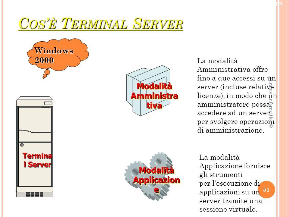 C OS ' È T ERMINAL S ERVER Modalità Applicazion e Modalità Amministra tiva Termina l Server La modalità Amministrativa offre fino a due accessi su un server (incluse relative licenze), in modo che un amministratore possa accedere ad un server per svolgere operazioni di amministrazione.