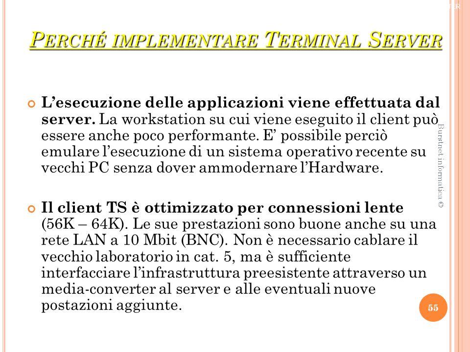 P ERCHÉ IMPLEMENTARE T ERMINAL S ERVER L'esecuzione delle applicazioni viene effettuata dal server.