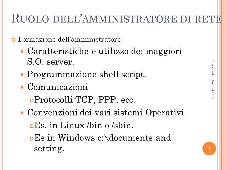 R UOLO DELL ' AMMINISTRATORE DI RETE Formazione dell'amministratore: Caratteristiche e utilizzo dei maggiori S.O.