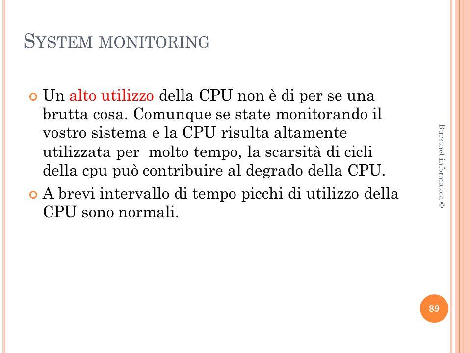 S YSTEM MONITORING Un alto utilizzo della CPU non è di per se una brutta cosa.