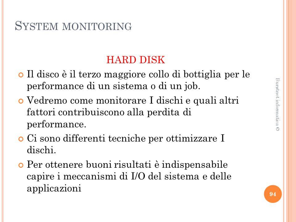 S YSTEM MONITORING HARD DISK Il disco è il terzo maggiore collo di bottiglia per le performance di un sistema o di un job.