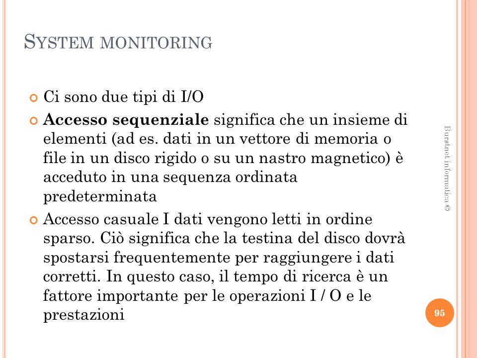 S YSTEM MONITORING Ci sono due tipi di I/O Accesso sequenziale significa che un insieme di elementi (ad es.