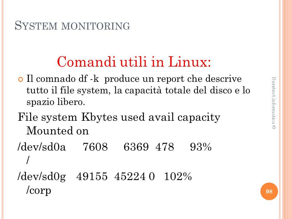 S YSTEM MONITORING Comandi utili in Linux: Il comnado df -k produce un report che descrive tutto il file system, la capacità totale del disco e lo spazio libero.