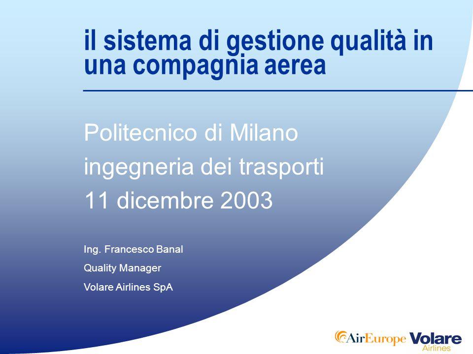 Il Sistema di Gestione Qualità in una compagnia aerea Politecnico di Milano - Ingegneria dei Trasporti gli attori del processo REQUISITO Soddisfazione del Cliente PROCESSO PRODOTTO TRASFORMAZIONE Specifiche del Cliente CLIENTEFORNITORECLIENTE