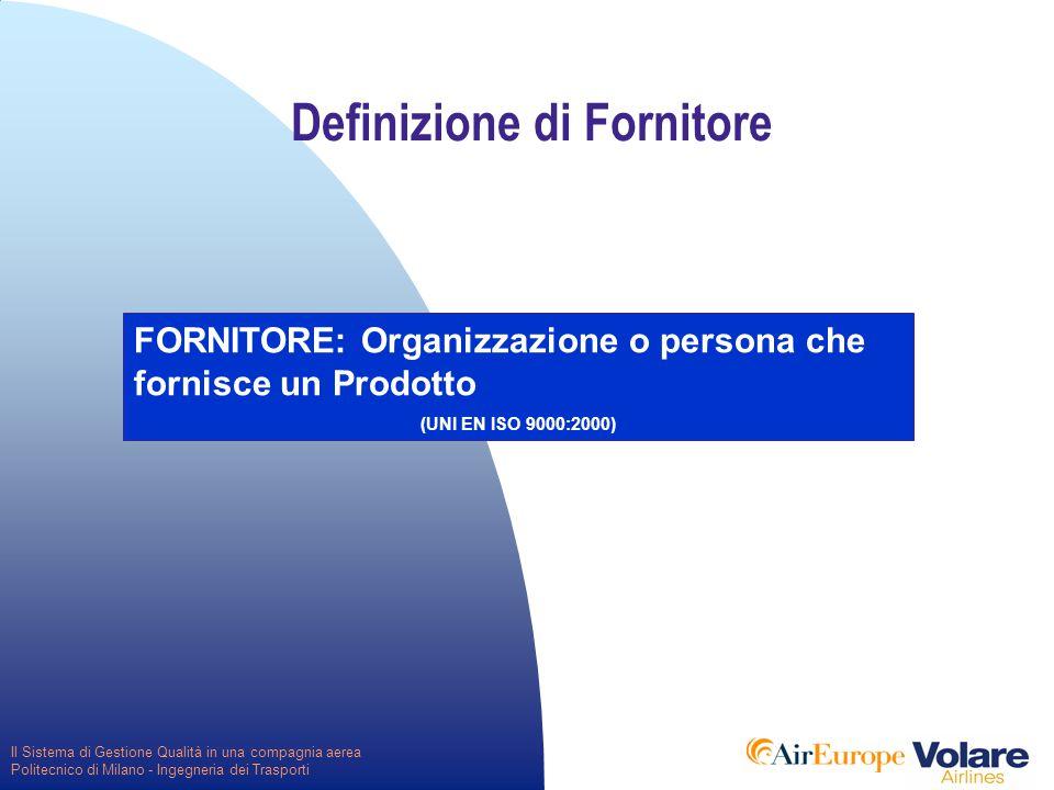 Il Sistema di Gestione Qualità in una compagnia aerea Politecnico di Milano - Ingegneria dei Trasporti Definizione di Fornitore FORNITORE: Organizzazione o persona che fornisce un Prodotto (UNI EN ISO 9000:2000)