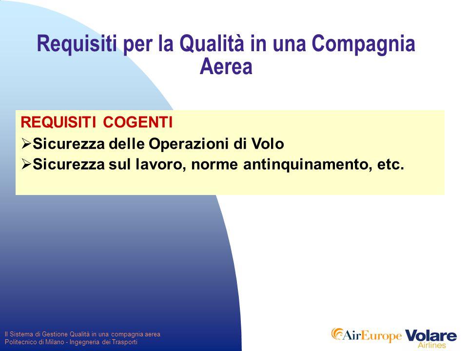 Il Sistema di Gestione Qualità in una compagnia aerea Politecnico di Milano - Ingegneria dei Trasporti Requisiti per la Qualità in una Compagnia Aerea REQUISITI COGENTI  Sicurezza delle Operazioni di Volo  Sicurezza sul lavoro, norme antinquinamento, etc.