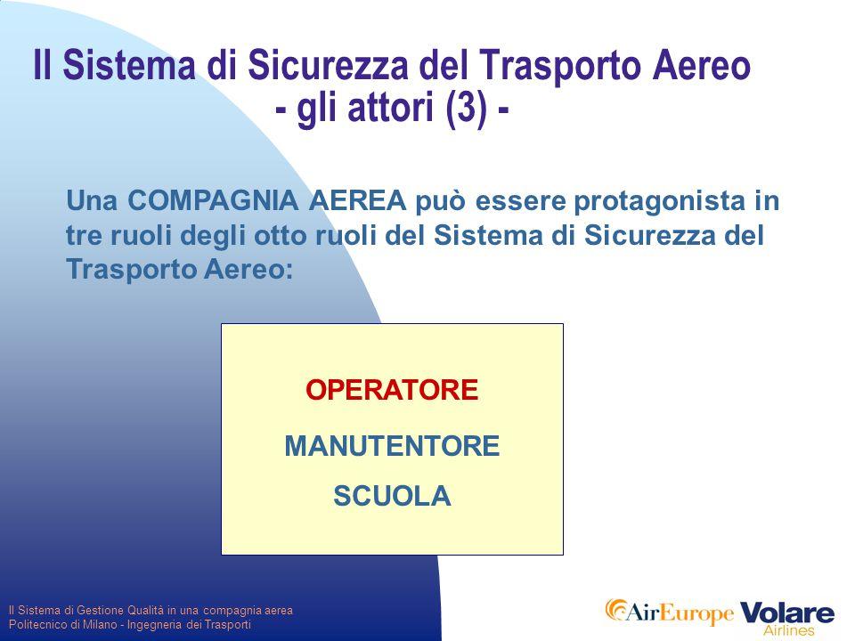Il Sistema di Gestione Qualità in una compagnia aerea Politecnico di Milano - Ingegneria dei Trasporti OPERATORE MANUTENTORE SCUOLA Il Sistema di Sicurezza del Trasporto Aereo - gli attori (3) - Una COMPAGNIA AEREA può essere protagonista in tre ruoli degli otto ruoli del Sistema di Sicurezza del Trasporto Aereo: