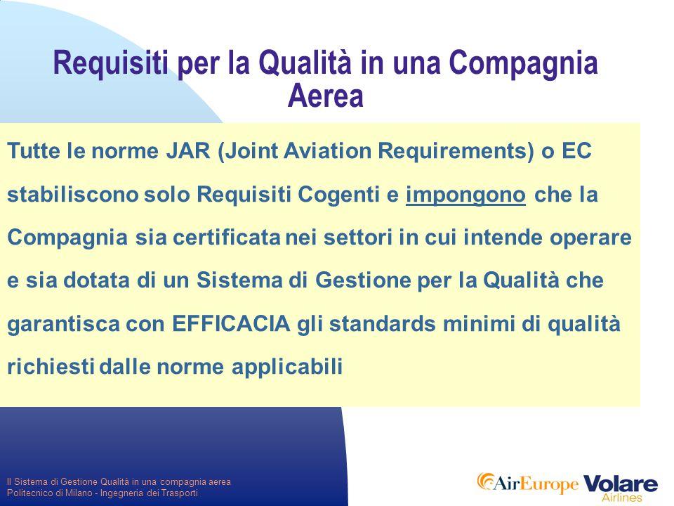 Il Sistema di Gestione Qualità in una compagnia aerea Politecnico di Milano - Ingegneria dei Trasporti Requisiti per la Qualità in una Compagnia Aerea Tutte le norme JAR (Joint Aviation Requirements) o EC stabiliscono solo Requisiti Cogenti e impongono che la Compagnia sia certificata nei settori in cui intende operare e sia dotata di un Sistema di Gestione per la Qualità che garantisca con EFFICACIA gli standards minimi di qualità richiesti dalle norme applicabili