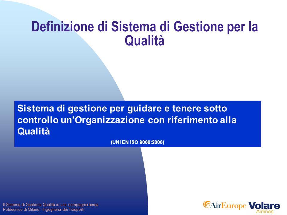 Il Sistema di Gestione Qualità in una compagnia aerea Politecnico di Milano - Ingegneria dei Trasporti Definizione di Sistema di Gestione per la Qualità Sistema di gestione per guidare e tenere sotto controllo un'Organizzazione con riferimento alla Qualità (UNI EN ISO 9000:2000)