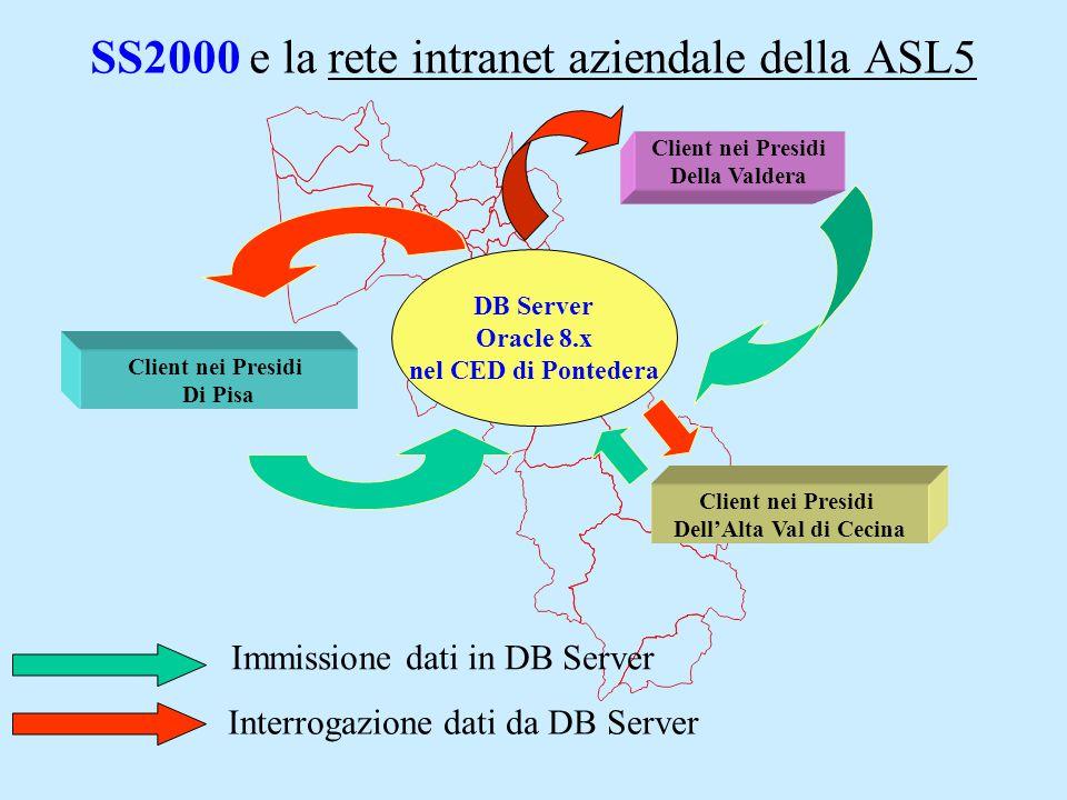 Il Progetto SS2000 Si attivano Gruppi di lavoro zonali e interaziendali per la costituzione del Nomenclatore dei Servizi Sociali USl5, che denomina e ordina gerarchicamente le attività: Il modulo principale del software SS2000, nato per gestire Servizi di livello comunale, viene gradualmente adattato alla complessità del livello aziendale della USL5: 2002 - 2004 Da DB Access AD ORACLE 8.X Per esempio: Nasce la prima bozza di Nomenclatore degli Interventi e Prestazioni per Settore (Anziani, Disabili..);