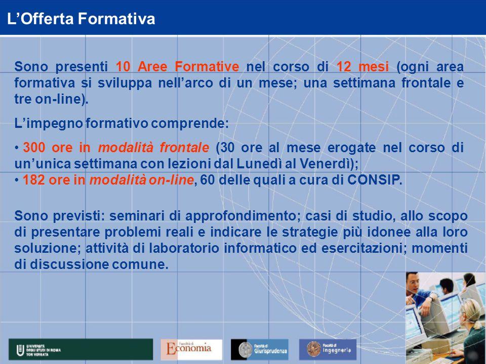 L'Offerta Formativa Sono presenti 10 Aree Formative nel corso di 12 mesi (ogni area formativa si sviluppa nell'arco di un mese; una settimana frontale