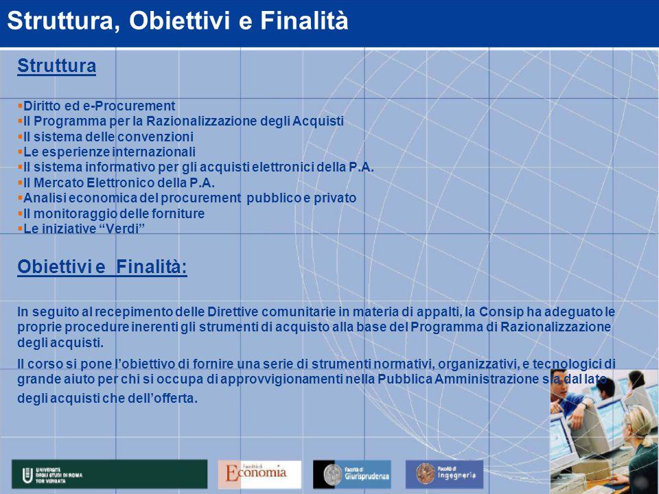 Struttura, Obiettivi e Finalità Struttura  Diritto ed e-Procurement  Il Programma per la Razionalizzazione degli Acquisti  Il sistema delle convenz